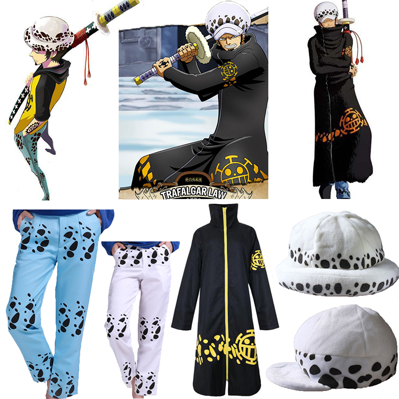 Anime One Piece Trafalgar Law After 2 Years Cosplay  Costume  Coat Cloak Outerwear Hat Pants Free shipping