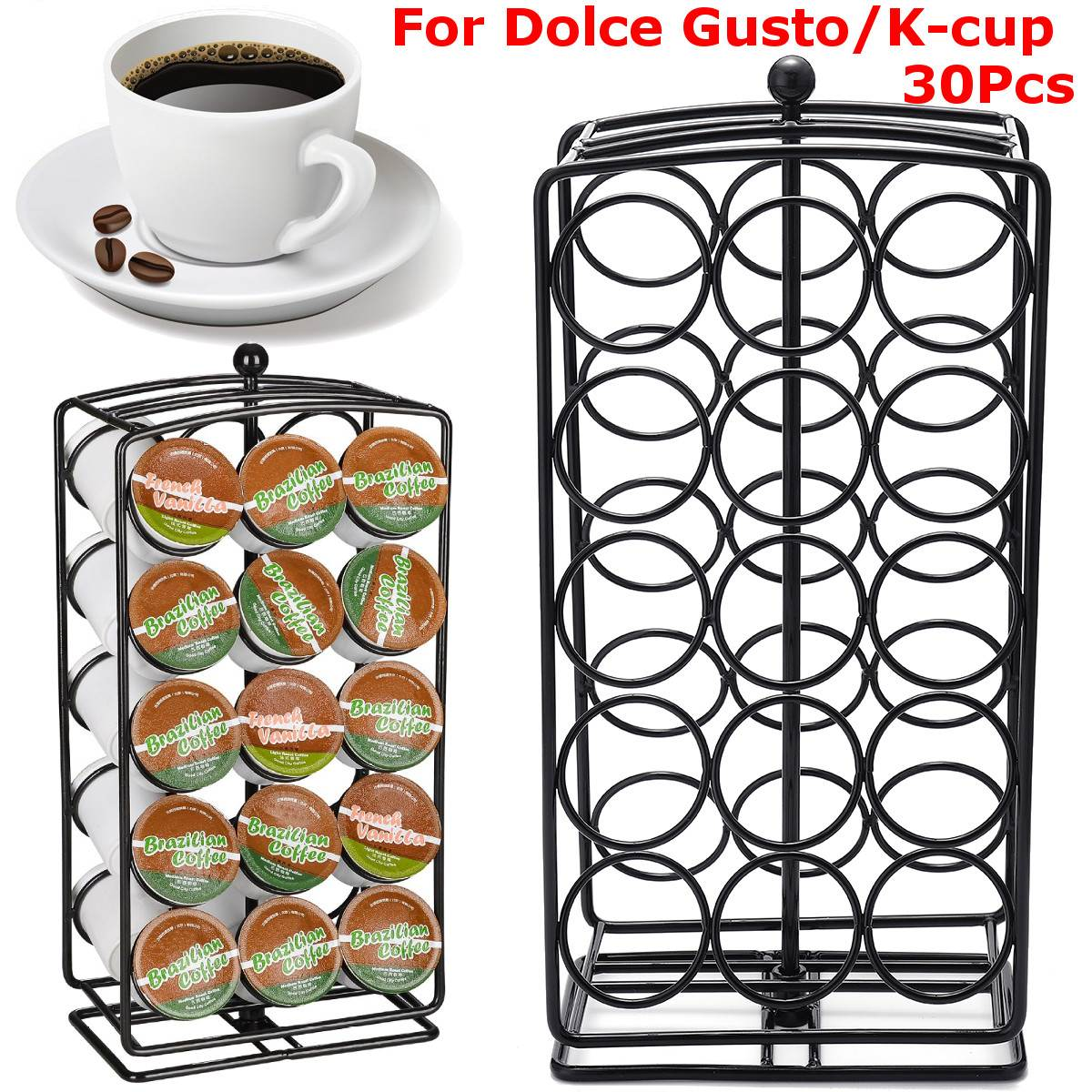 30Pcs Coffee Capsules Pod Holder Stand Dispenser Rotating Rack Capsule Cup For Dolce Gusto Home Kitchen Coffee Maker Appliance