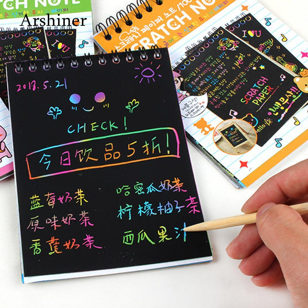 1Pc Creative DIY Draw Sketch Notes  Scratch Note Black Cardboard For Kids Toy Notebook Material Escolar School Supplies