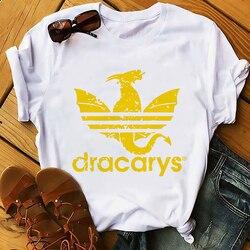 Daenerys smok camiseta Dracarys zabawna koszulka męska lato nowy biały dorywczo ma unisex tshirt fajne Harajuku street wear t koszula 4