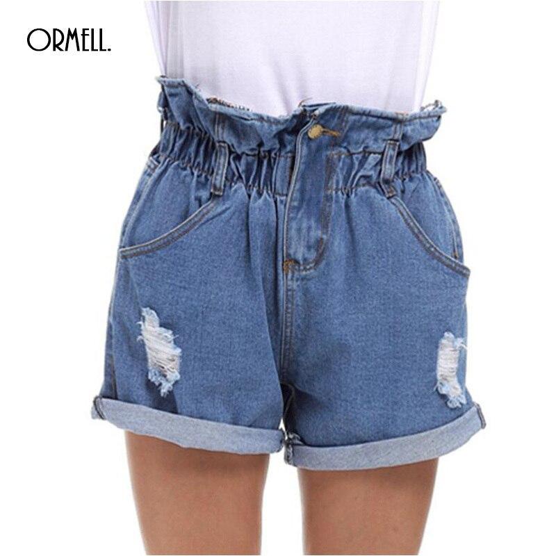 ORMELL Denim Holes Shorts Women 2019 High Waist Loose Beach Zipper Short Jeans Summer Style Female Bottom Lady Hot Plus Size 5XL