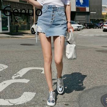 Casual Irregular High Waist Denim Skirt Light Wash Women Ripped Mini Skirt Female mini 2019 Summer