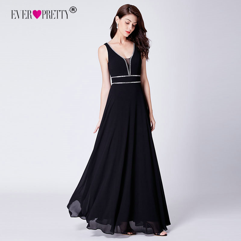 Black   Prom     Dress   Long 2019 Ever Pretty Elegant A Line V Neck Long Chiffon Formal Party Gown Sexy Backless   Dress   Vestidos De Gala
