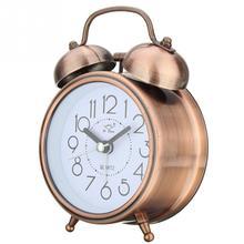 アラーム時計ヴィンテージレトロなサイレントポインター時計ラウンド数デュアルベルラウドアラーム時計ナイトライトホームデコレーション