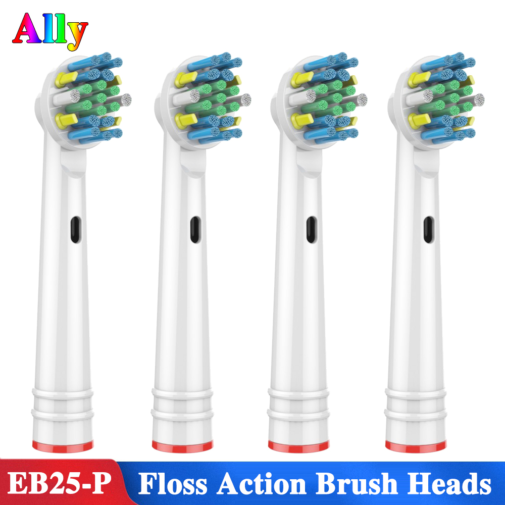 4PCS EB25 For Oral B Floss Action with Bacteria Guard Bristles Replacement Brush Heads For Braun Oral B Triumph Vitality D12 D16 image