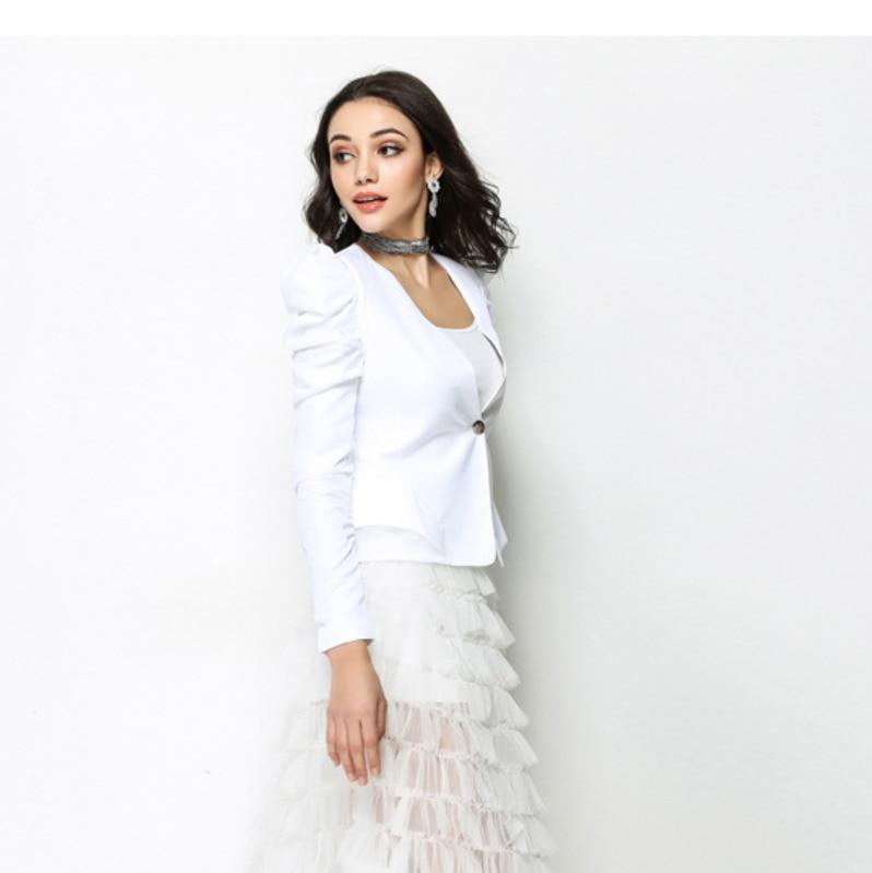 #2783 Spring Summer Temperament White/Black Suit Coat Women thin Short Blazer V-neck Pleated Sleeve Slim Single Button Elegant