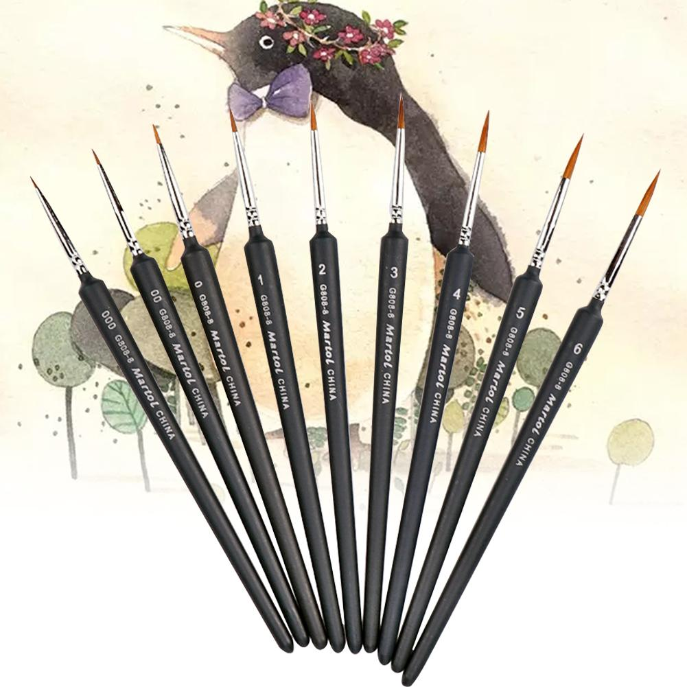 Line Drawing Pen 9-Pack Fine Detail Paint Brushes Miniature Brush for Fine Detailing Art Painting Acrylics Oil Models WatercolorLine Drawing Pen 9-Pack Fine Detail Paint Brushes Miniature Brush for Fine Detailing Art Painting Acrylics Oil Models Watercolor