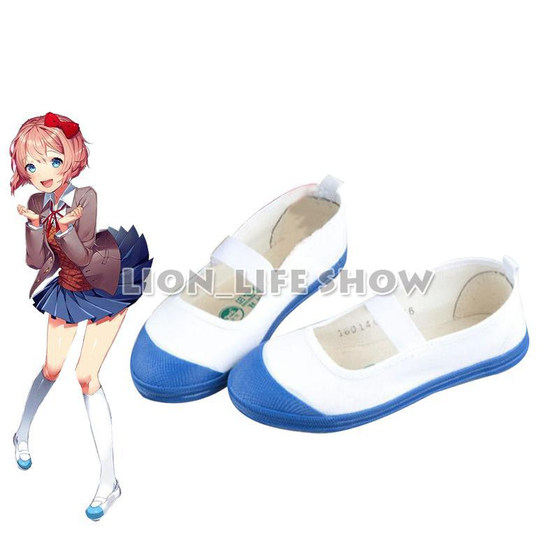 Doki Doki Literature Club Cosplay Shoes Sayori Cos Yuri Natsuki Cosplay White and Blue Girl Cute School Shoes