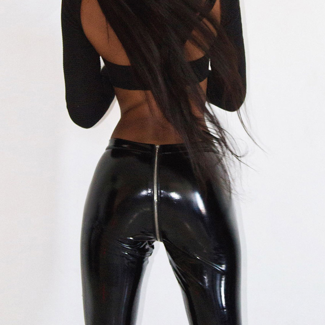 daa2d222097e8c Women Sexy Shiny PU Leather Leggings Back Zipper Push Up Faux Leather Pants  2019 New Latex Rubber Pants Jeggings Black Red-in Pants & Capris from  Women's ...