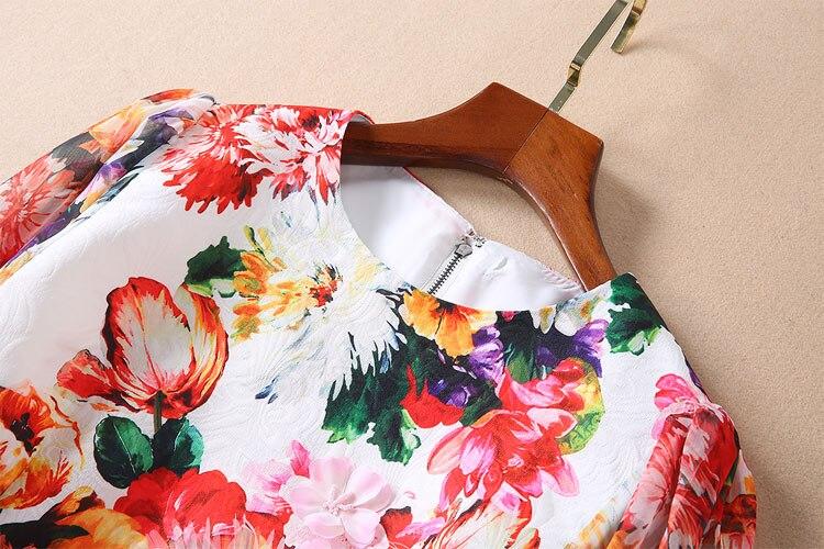 Offre Applique Courte Jeunes Fleur Multi Kawaii Femmes Floral Spéciale cou O Robe Mini Longues À Jacquard Manches Vêtements Pour aHX8wd