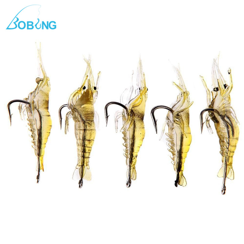 Bobing 1pcs Soft 4cm Silicone Shrimp Fishing Lure Wobblers Fishing Minnow Trout Fish Lures Artificial Bait Hook Bass Tackle Jig