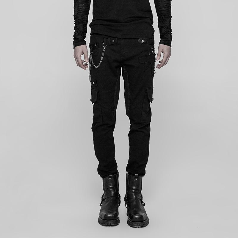 Punk Rave Men's Skinny Patch Pocket Goth Trousers WK-335XCM
