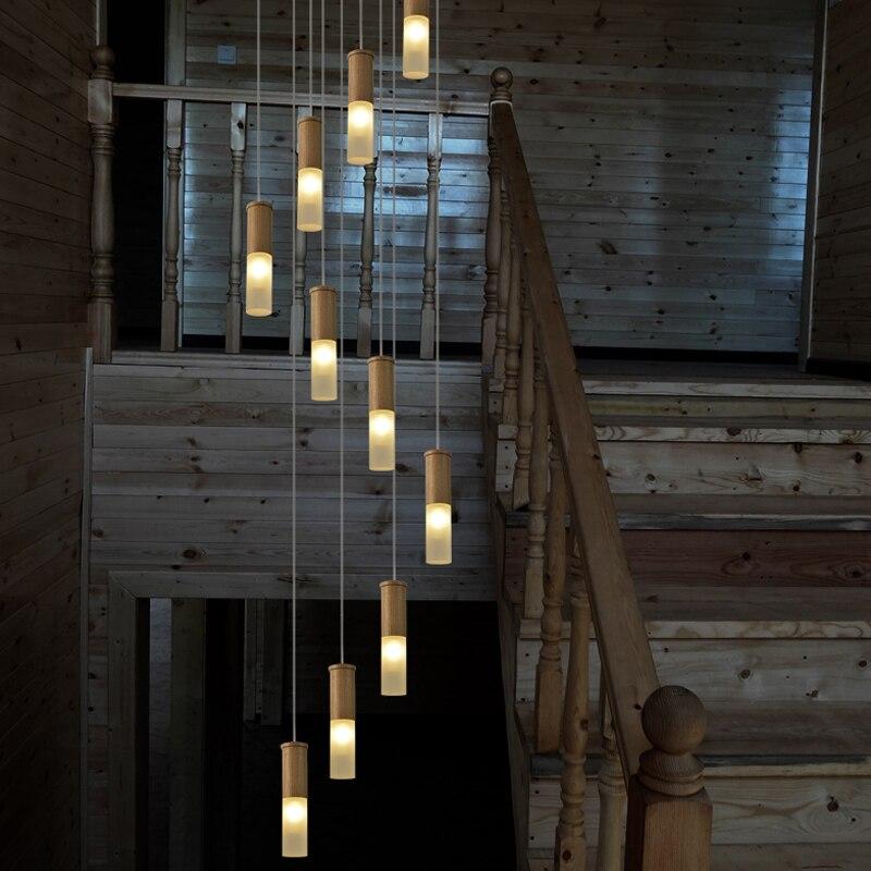 2.5-5 m lunga scala in legno lampade a spirale led Stairway illuminazione lampadario A Sospensione Apparecchi di Illuminazione moderno tromba delle scale meteor shower Lampade