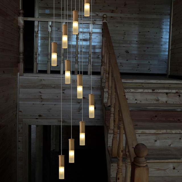Us 429 0 2 5 5m Long Wood Stair Lamps Spiral Led Stairway Chandelier Lighting Suspension Luminaire Modern Stairwell Meteor Shower In Pendant