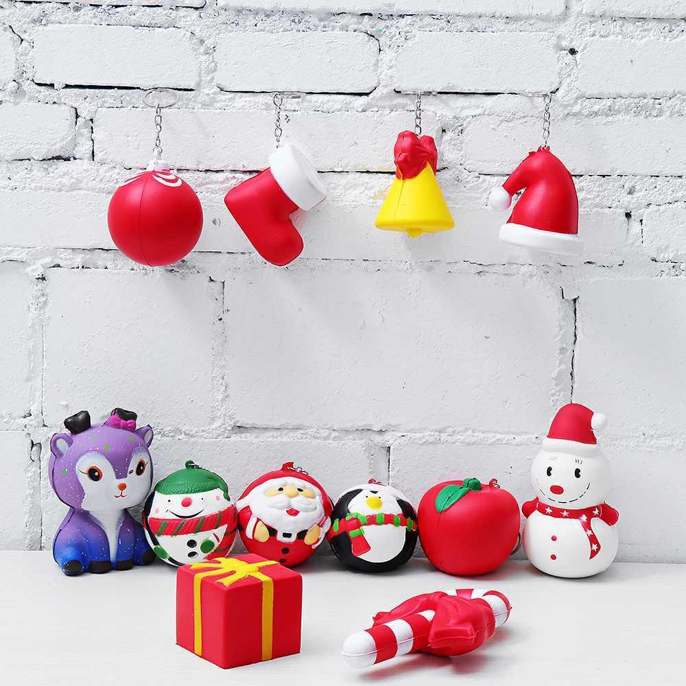 12 шт. Kawaii Рождество для мягких лотов Упаковка конфет коробка Санта Клаус Снеговик коврик с запоминанием формы игрушка детский подарок ремни для телефона