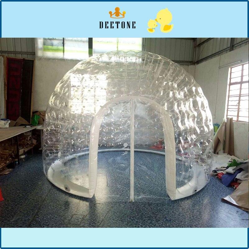 Air fermé 4 mètres de diamètre et 3 mètres de haut 0.8 MMPVC tente gonflable transparente