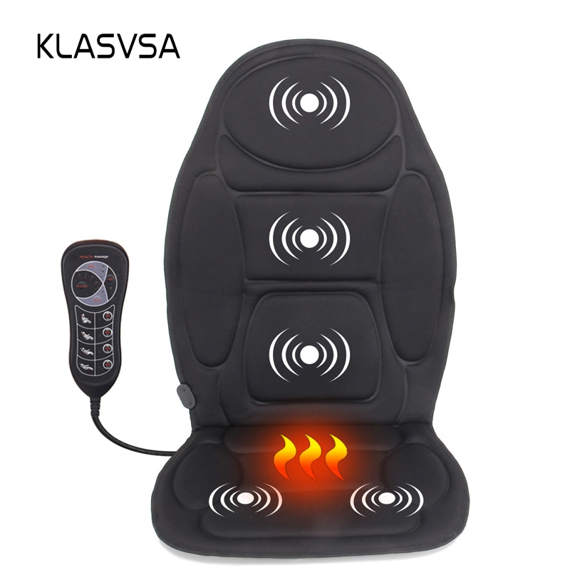KLASVSA Portable Electric Back Massager Chair Cushion Vibrator Car Home Office Neck Lumbar Waist Pain Relief