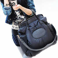 LUCDO Winter Women Handbags Fashion Space Cotton Material Large Package Down Jacket Bag Ladies Warm Tote Bag Sac A Main Bolsa