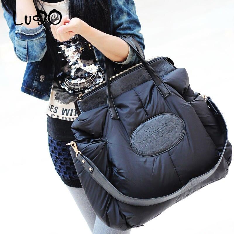 Lucido inverno bolsas femininas moda espaço material de algodão grande pacote para baixo jaqueta saco senhoras quente sacola sac a bolsa principal