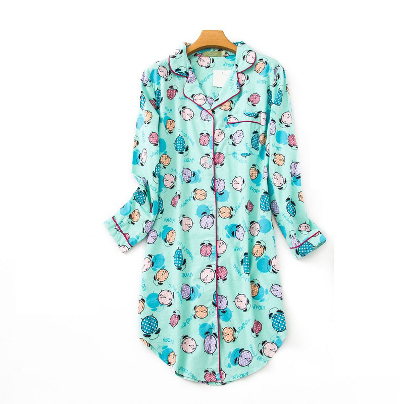 Women Cotton   Nightgowns   Nightshirts Print Cartoon Cute Nightdress Sleeping Shirt   Sleepshirts   Sleepwear   Nightgowns   Nightshirts