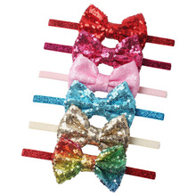 Fashion 1PC sequins childrens Headband Bowknot Paillette Baby Hair Band Hairwear Accessories