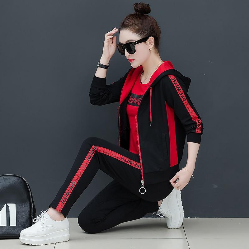LYFZOUS Women Tracksuit Street Wear Casual (hoodies Print Letter Sweatshirt +long Pants ) Sport Suit 3 Piece Set For Woman