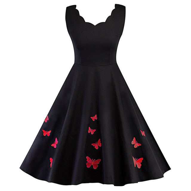 e1cb7695c413 Retro Hepburn Robe Elegant Scalloped V Neck Butterfly Printing Dress  Vintage 50s 60s 70s Pin Up Rockabilly Swing Dress Vestidos