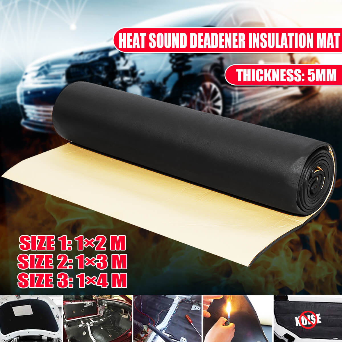 1 Roll 5mm Car Auto Sound Deadening Cotton Heat Insulation Pad Foam Material Automobiles Interior Accessories