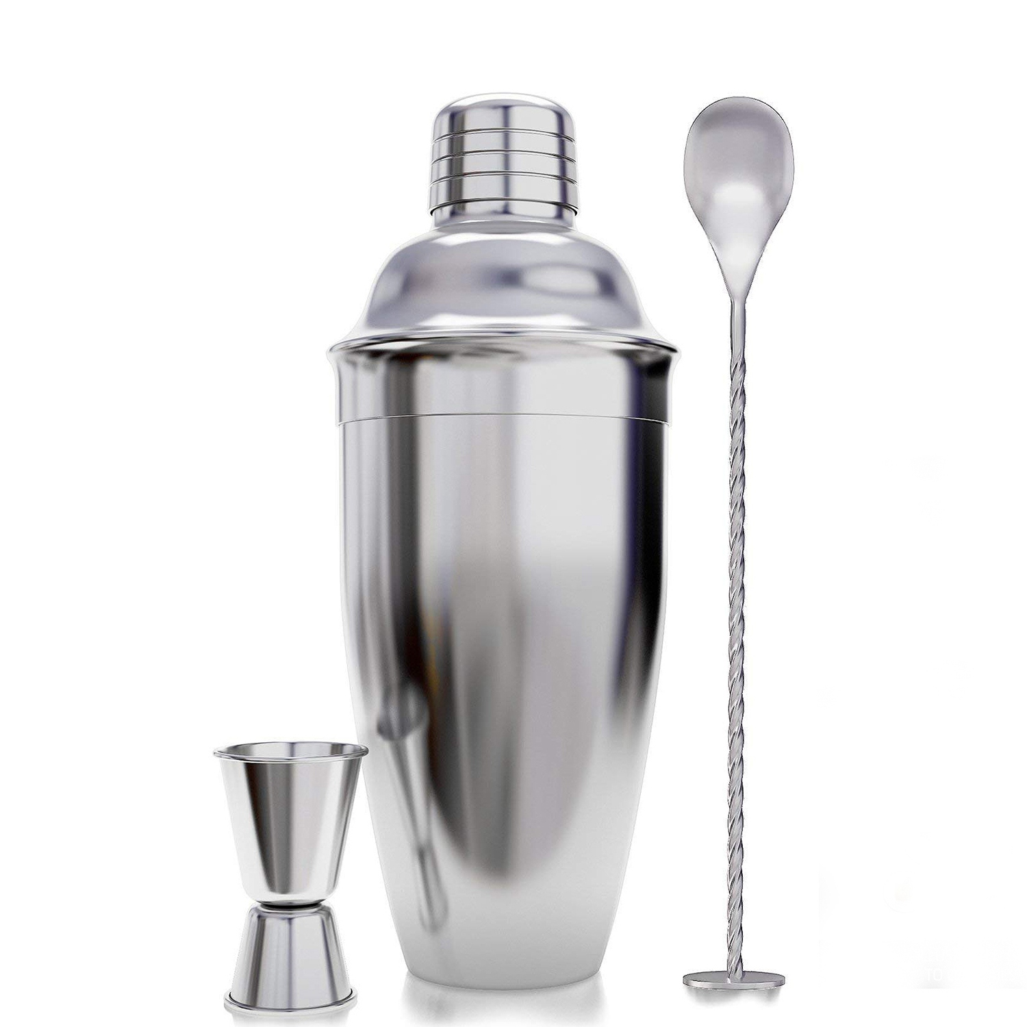 LUDA 3-Piece Cocktail Shaker Bar Set Accessories-With Measuring Cup And Mixing Spoon Professional Stainless Steel Bar Tool-Bui