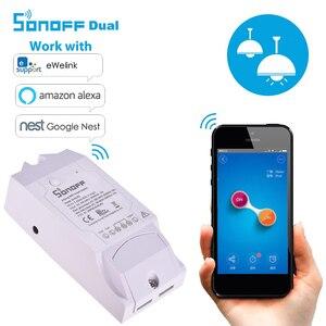 Image 3 - Sonoff Dual R2 2CH inteligentny zegarek wi fi domowy zdalny sterownik bezprzewodowy przełącznik uniwersalny moduł przełącznik czasowy inteligentny sterownik domowy