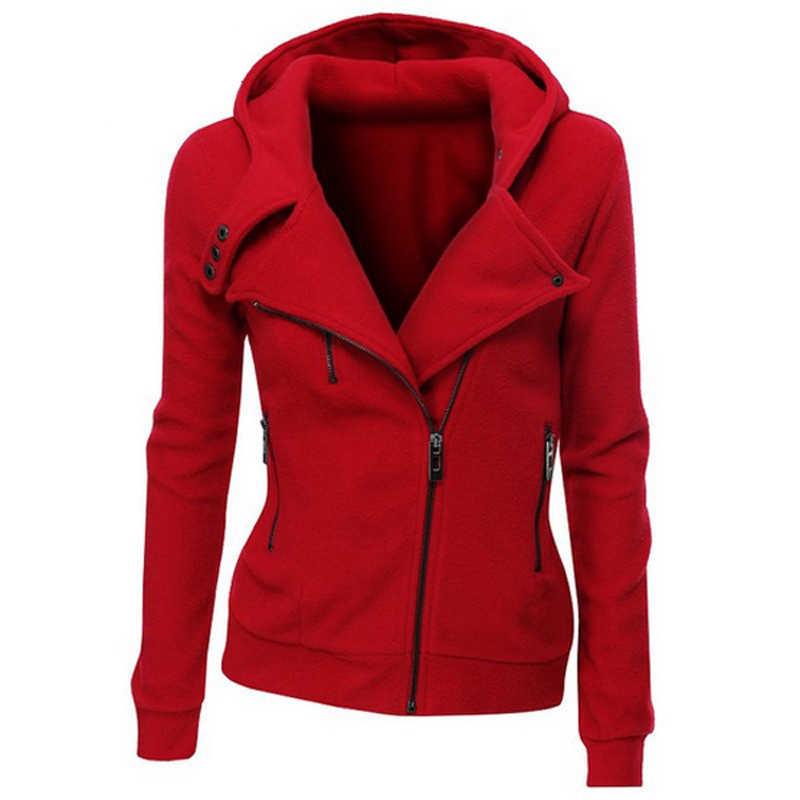2019 осень зима стекаются курточка бомбер для женщин одноцветное с капюшоном хлопковые пальто Асимметричная молни