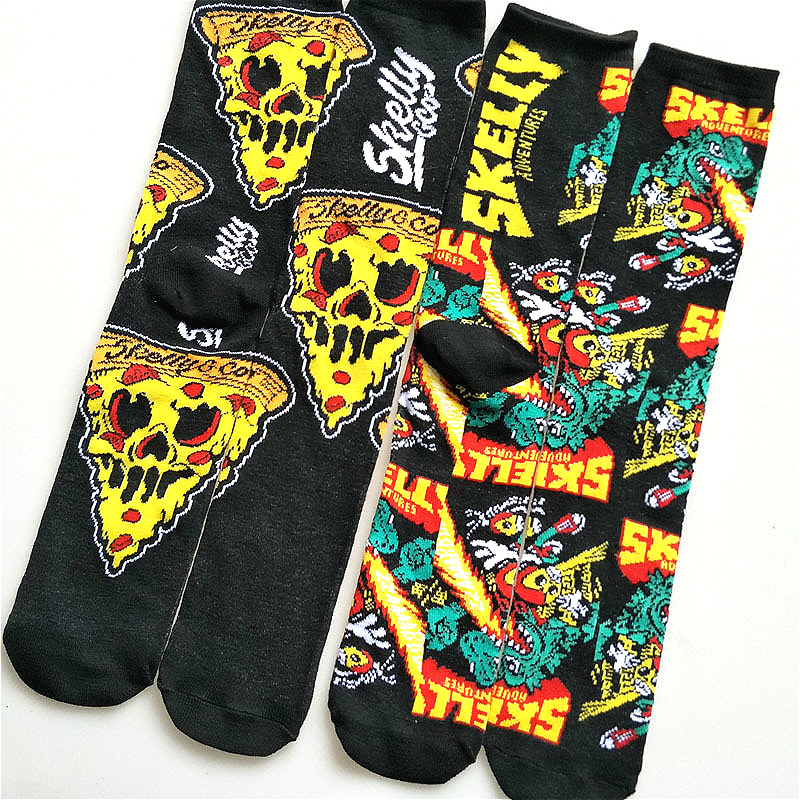 2pairs/lot Fear Pizza Personality The Dragon Man Canister Happy Pure Cotton Men's Socks Men Cartoon Motion Socks Harajuku Anime