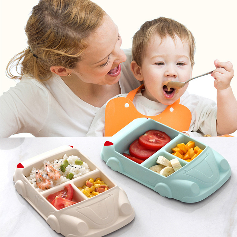 GZZT Bamboo Fiber Bowl Baby Dishes Cartoon Car Shape Bowl Lunch Box Health and Safety Kid Children Feeding Plate Tableware in Lunch Boxes from Home Garden