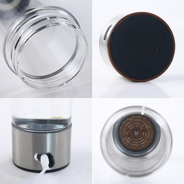 Adoolla 420ML Portable Electrolysis Hydrogen Generator Water Filter Bottle Glass 3