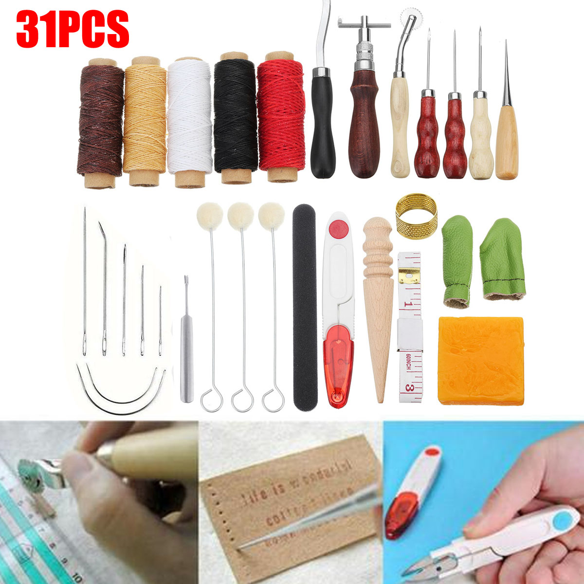 Professional 31Pcs Leathercraft Tools Set Hand Sewing Stitching Punch Carving Work Saddle Leather Craft AccessoriesProfessional 31Pcs Leathercraft Tools Set Hand Sewing Stitching Punch Carving Work Saddle Leather Craft Accessories