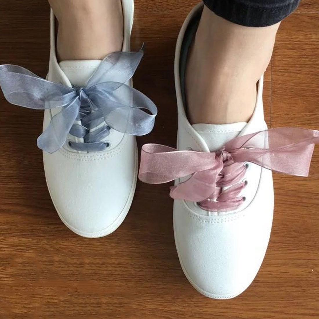 1Pair 100CM Candy Color Lace Belt Yarn Shoelaces For Women Durable Wide Shoestring Casual Style Decrations Canvas Shoes Shoelace