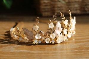 Image 4 - 手作りゴールドブライダル冠花の葉ウェディングヘアアクセサリーティアララインストーンヘッドパーティージュエリー