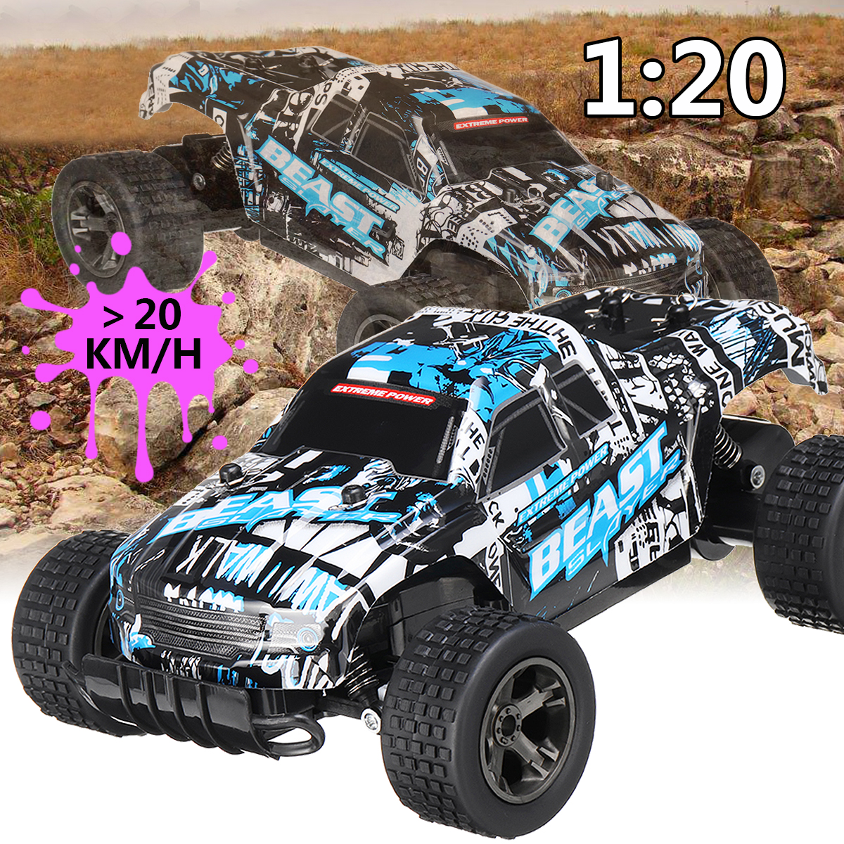 RC Car 48KM/H 2 4ghz 1:20 4WD Remote Control High Speed Truck Electric  Truck OffRoad Vehicle 4x4 Driving Car Vehicle Toy