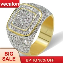 Vecalon Luxury Big Hiphop Rock rings for men Pave setting 274pcs AAAAA cz Stone Yellow Gold Filled 925 silver male Party ring(China)