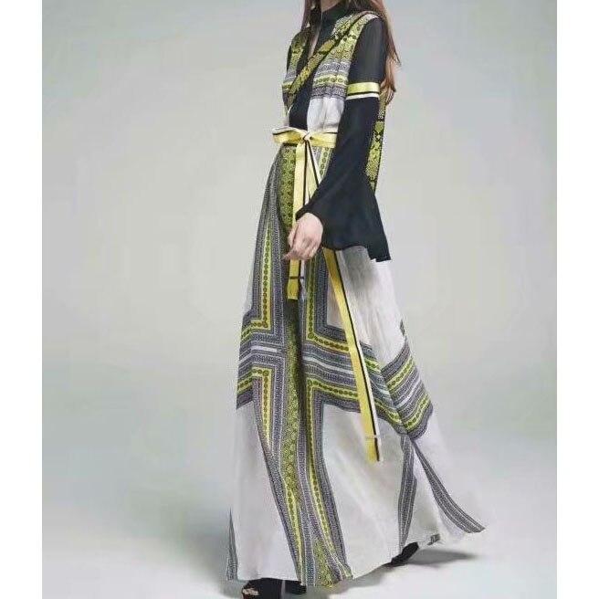 2019 mode femmes une ligne robe couleur bloc imprimé Floral robe à manches longues Flare robe longue