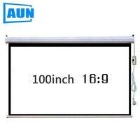 Бренд AUN 100 дюймов 16:9 электрический проектор настенный экран. Применяются ко всем проекторам. Электрический пульт дистанционного управлени