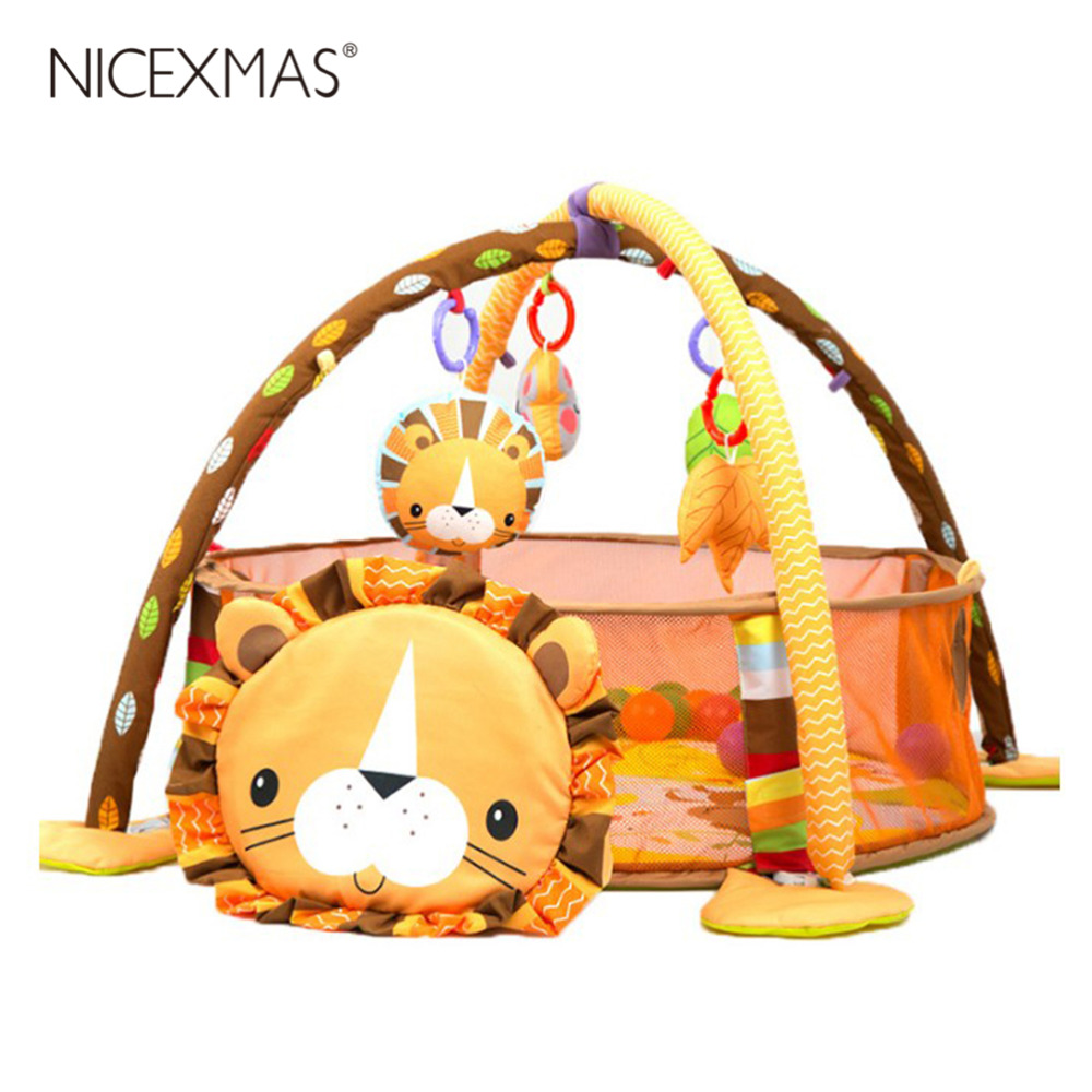 NICEXMAS bébé jeu Urine tapis de protection ramper tapis jeux tapis bébé doux jouet cadre de jeu (Lion & tortue)