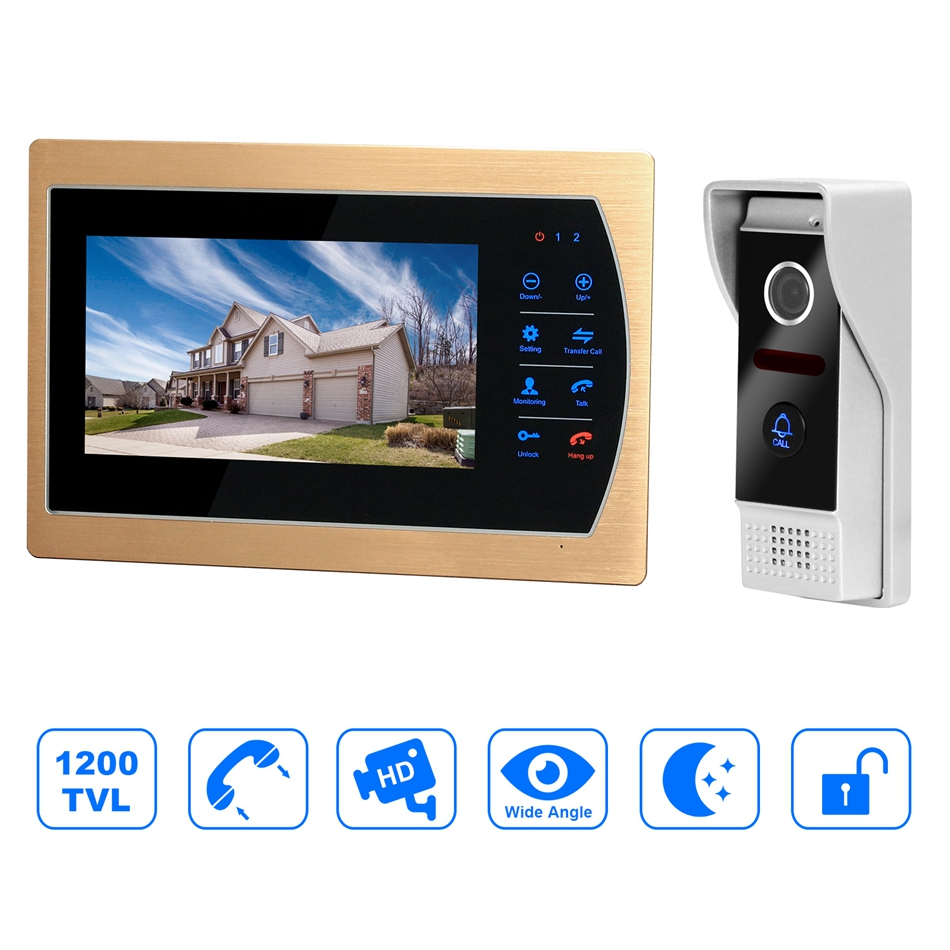 HomeFong Home Intercom Video 7inch HD Video Doorbell Monitor Intercom System With 1200TVL Wide Angle Outdoor Camera Night Vision