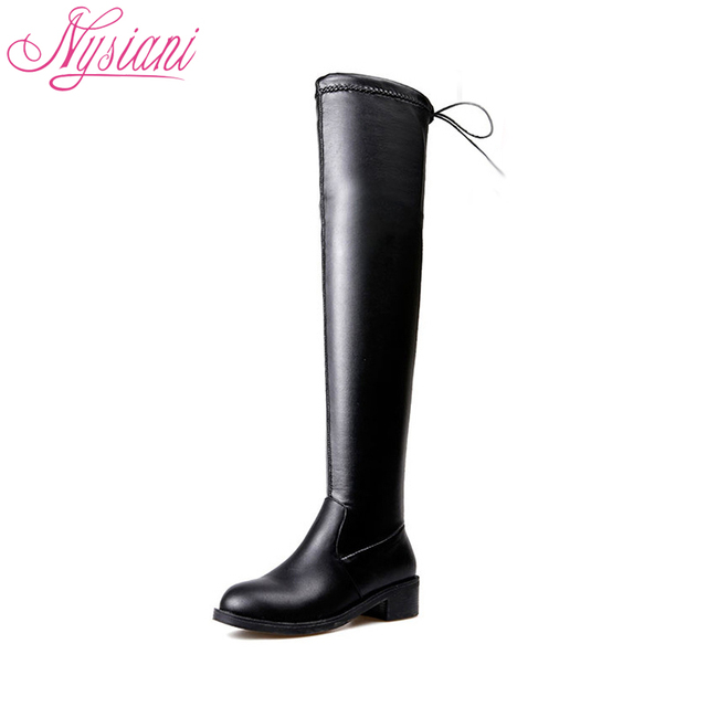 2018 Black Thigh High Boots For Women Round Toe Autumn Winter Stretch Fabric  Square Heel Women Over Knee High Heel Boot Nysiani
