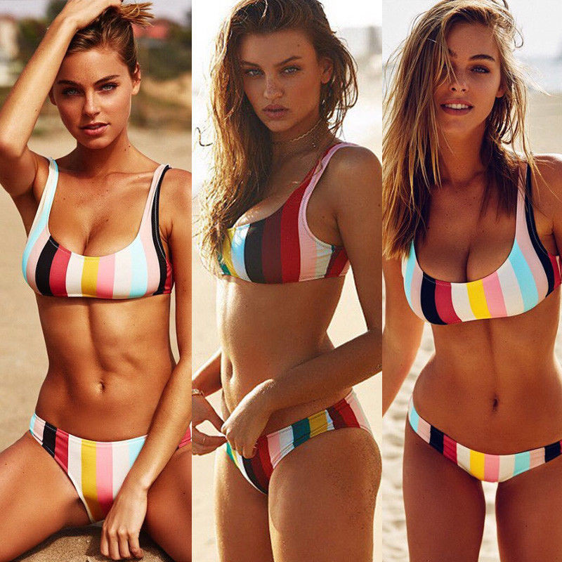 Hirigin 2019 Bikini Set Women Swimwear Hot Stripes Push Up Padded Swimsuit Women Bathing Suit Beachwear Brazilian Biquini New