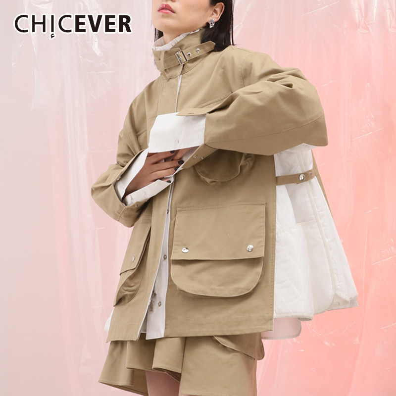 CHICEVER 2018 Autumn Jacket For Women Coat Female Long Sleeve Loose Oversize Stand Women's Coats Clothes Fashion New