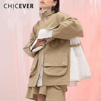 CHICEVER 2019 Autumn Jacket For Women Coat Female Long Sleeve Loose Oversize Stand Women's Coats Clothes Fashion New - DISCOUNT ITEM  45% OFF All Category