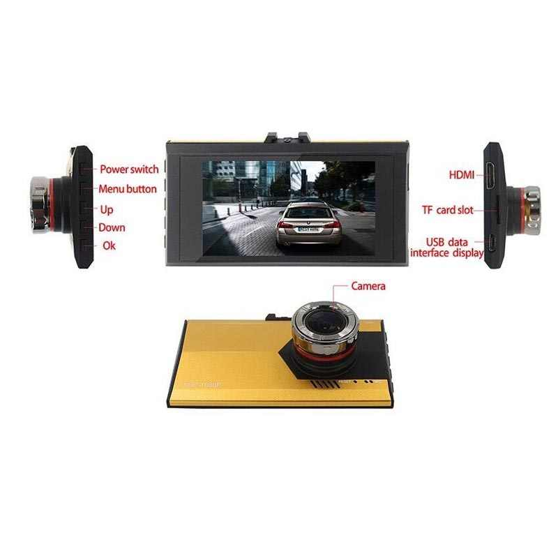 Тахограф ультра-тонкий 1080P HD супер широкоугольный Рыбий глаз камера ночного видения двухъядерный чип DVR Автомобильная камера Серый Золотой 2 цвета
