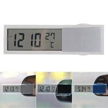 Мини 2 в 1 90x27x15 мм ЖК-цифровой Авто Грузовик часы термометр с присоской AG10 Кнопка батарея работает