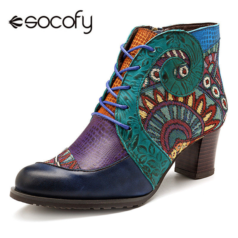 Socofy Retro Cowgirl Women Boots Genuine Leather Splicing Ankle Boots For Women Shoes Woman Casual Zipper Bohemian Booties BotasSocofy Retro Cowgirl Women Boots Genuine Leather Splicing Ankle Boots For Women Shoes Woman Casual Zipper Bohemian Booties Botas